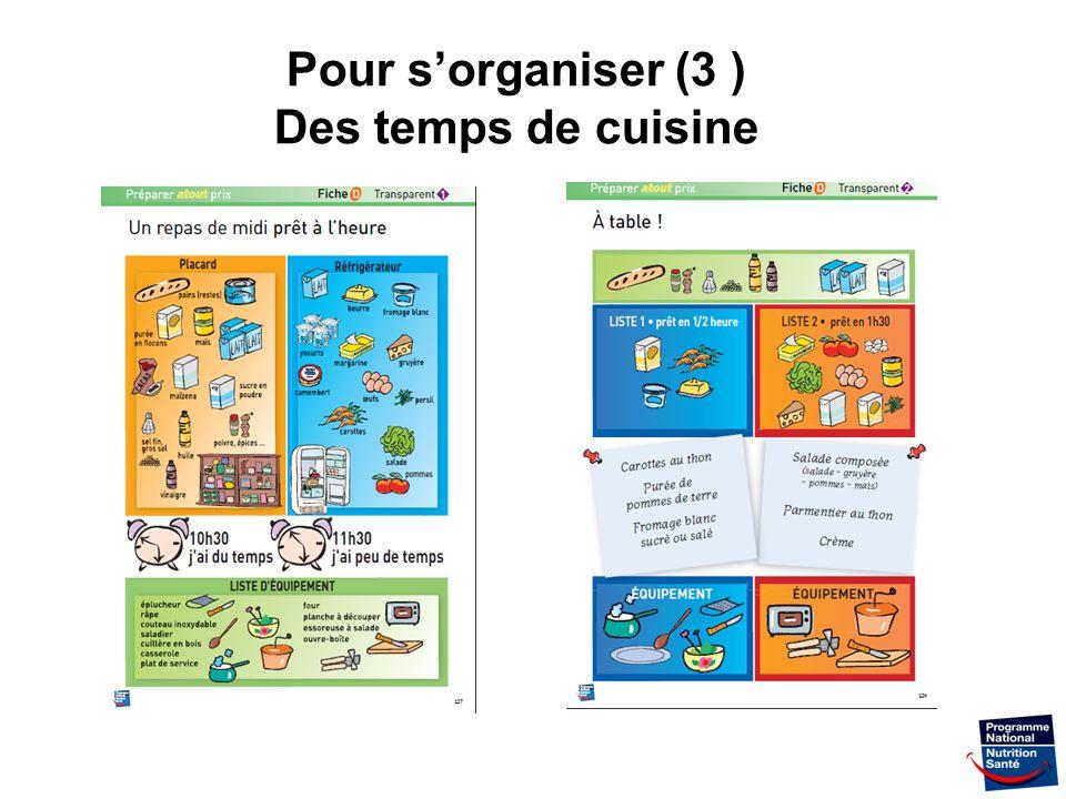 Pour s'organiser (3 ) Des temps de cuisine