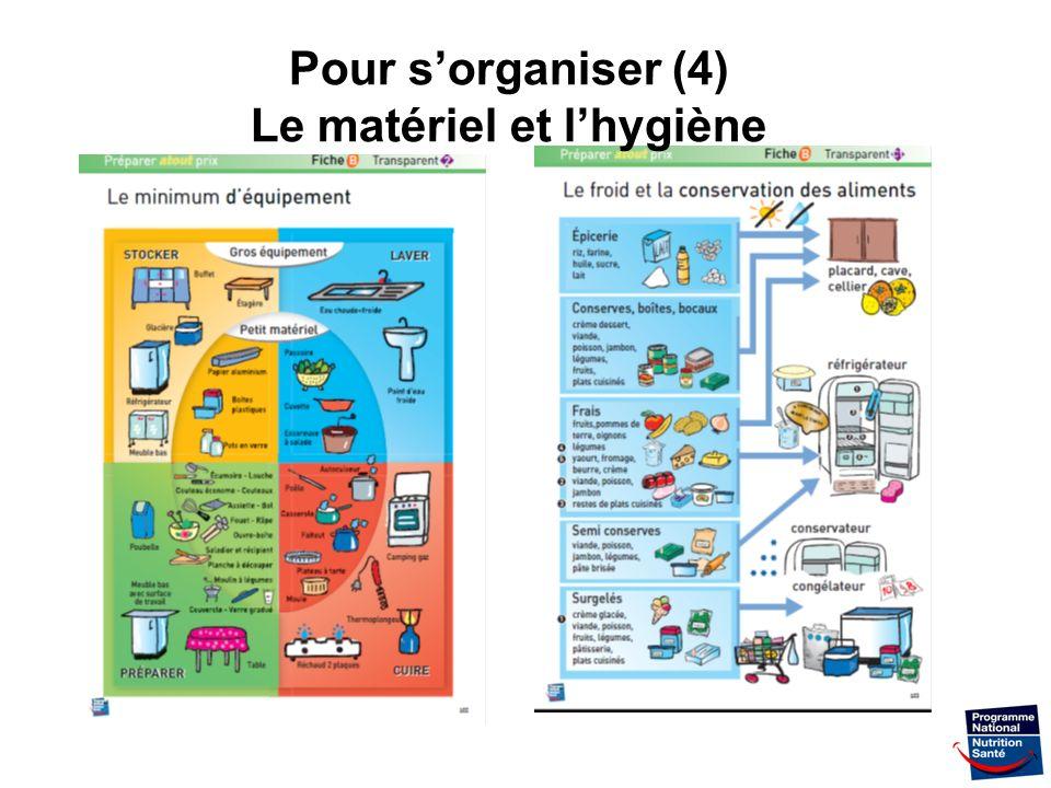 Pour s'organiser (4) Le matériel et l'hygiène