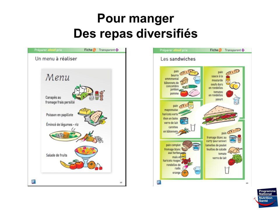 Pour manger Des repas diversifiés