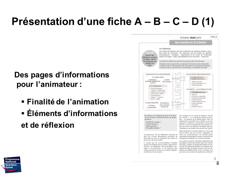 Présentation d'une fiche A – B – C – D (1)