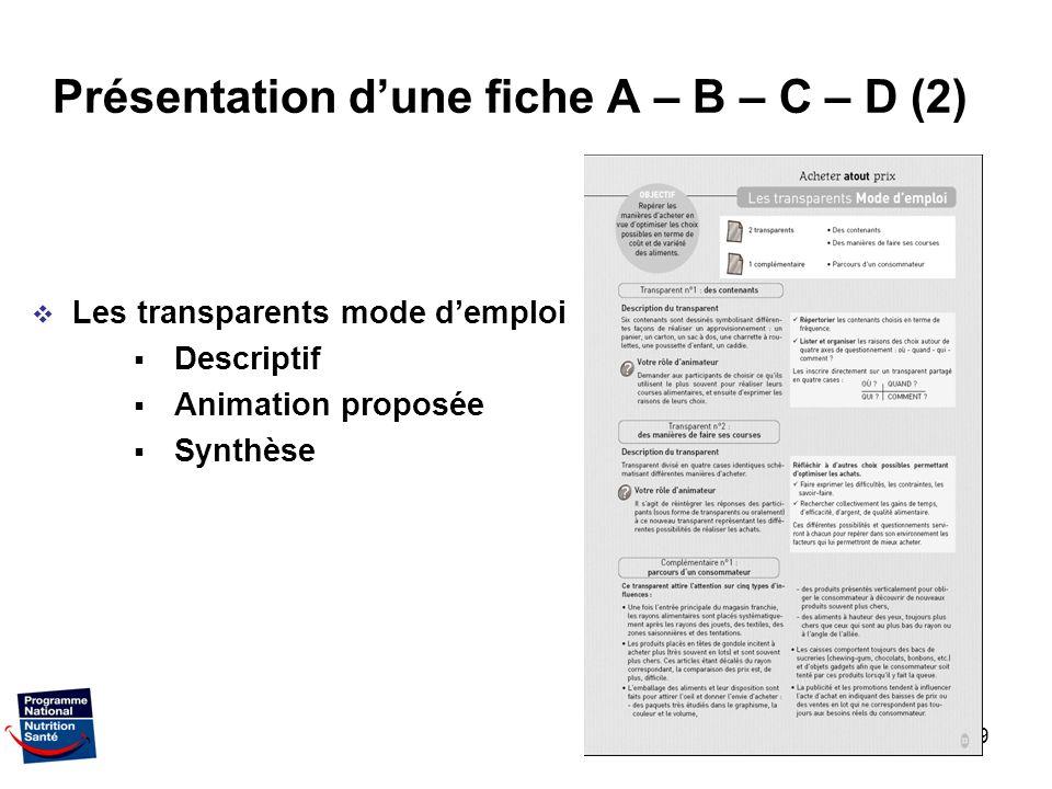 Présentation d'une fiche A – B – C – D (2)