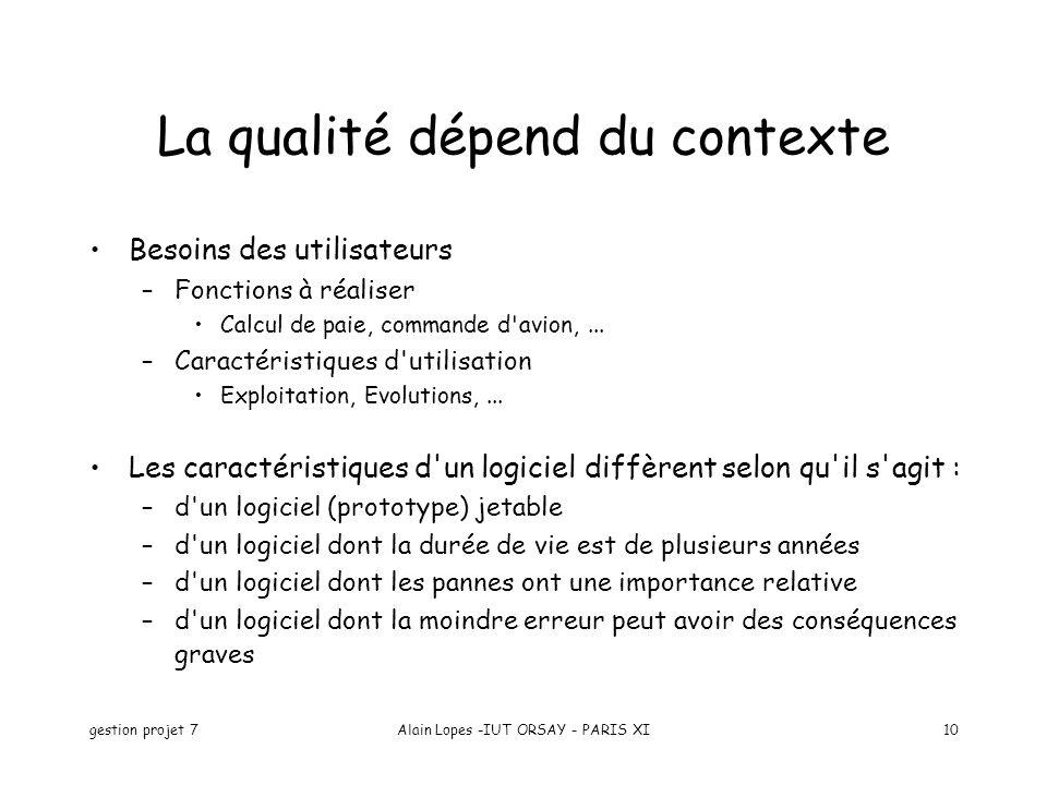 La qualité dépend du contexte