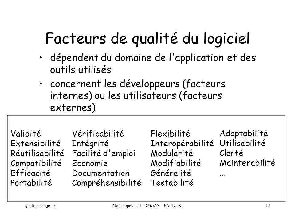 Facteurs de qualité du logiciel