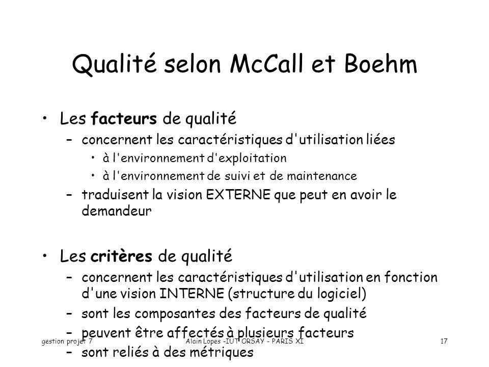 Qualité selon McCall et Boehm