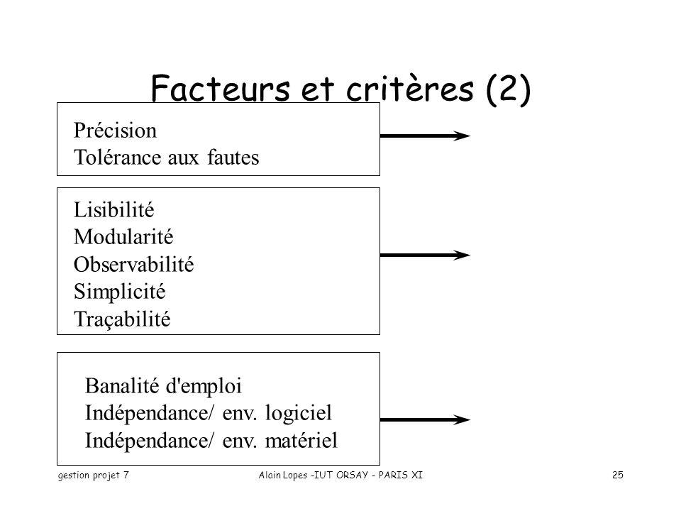 Facteurs et critères (2)