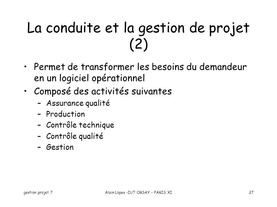 La conduite et la gestion de projet (2)