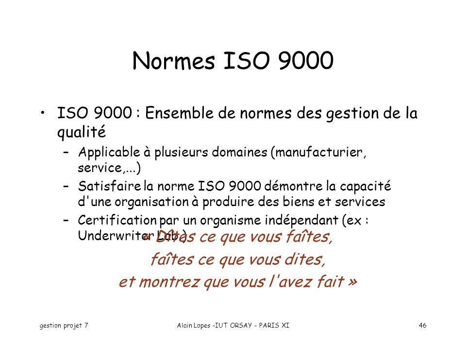Normes ISO 9000 ISO 9000 : Ensemble de normes des gestion de la qualité. Applicable à plusieurs domaines (manufacturier, service,...)