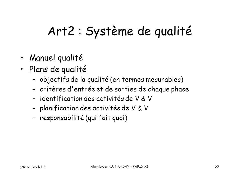 Art2 : Système de qualité