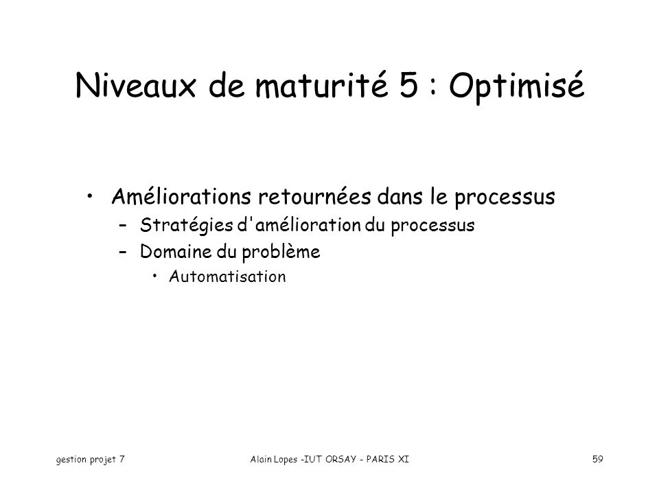 Niveaux de maturité 5 : Optimisé