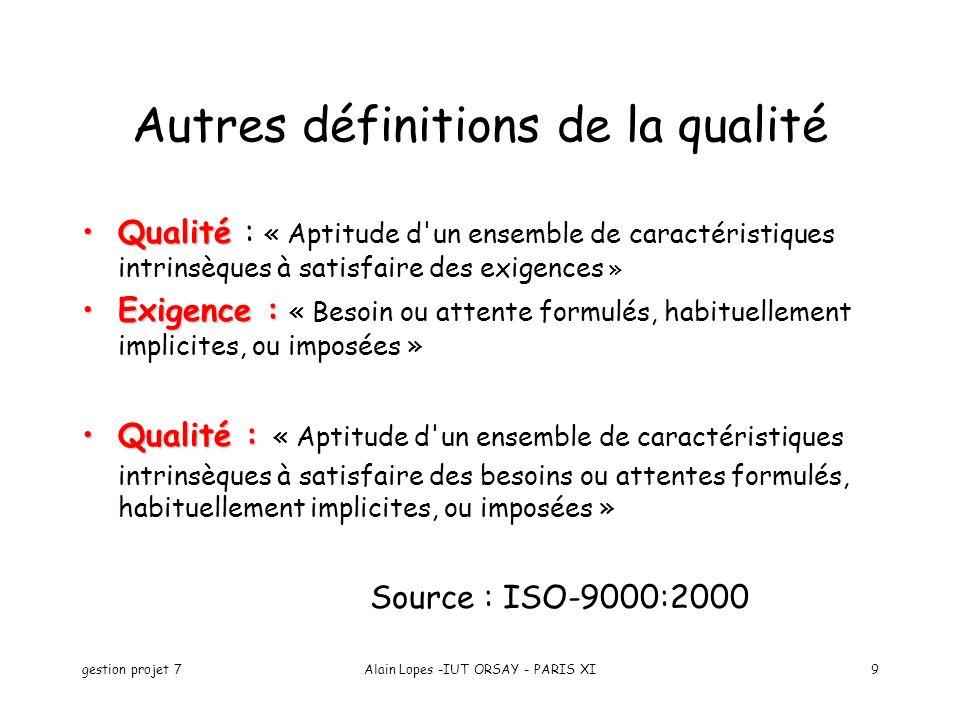 Autres définitions de la qualité