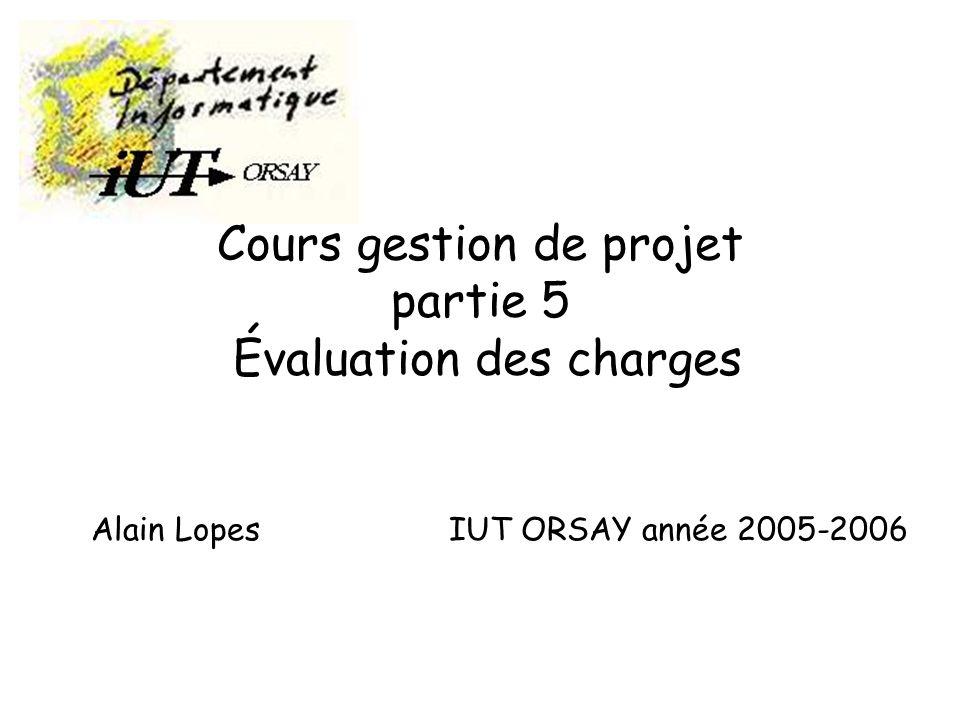 Cours gestion de projet partie 5 Évaluation des charges