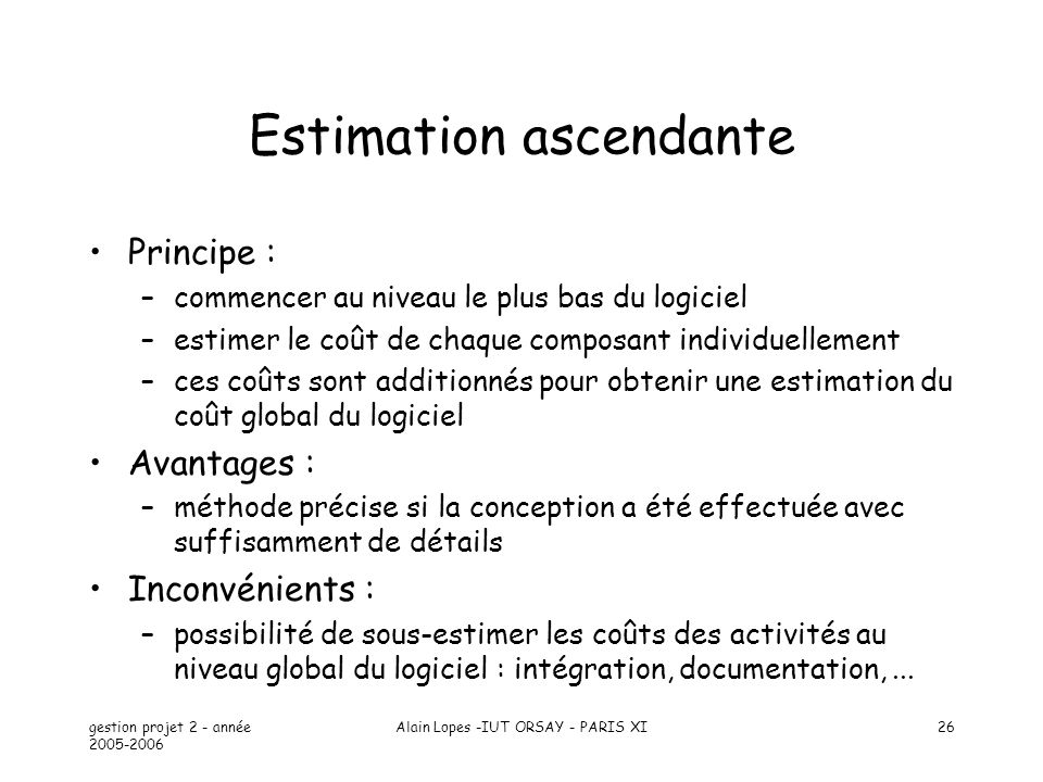 Estimation ascendante