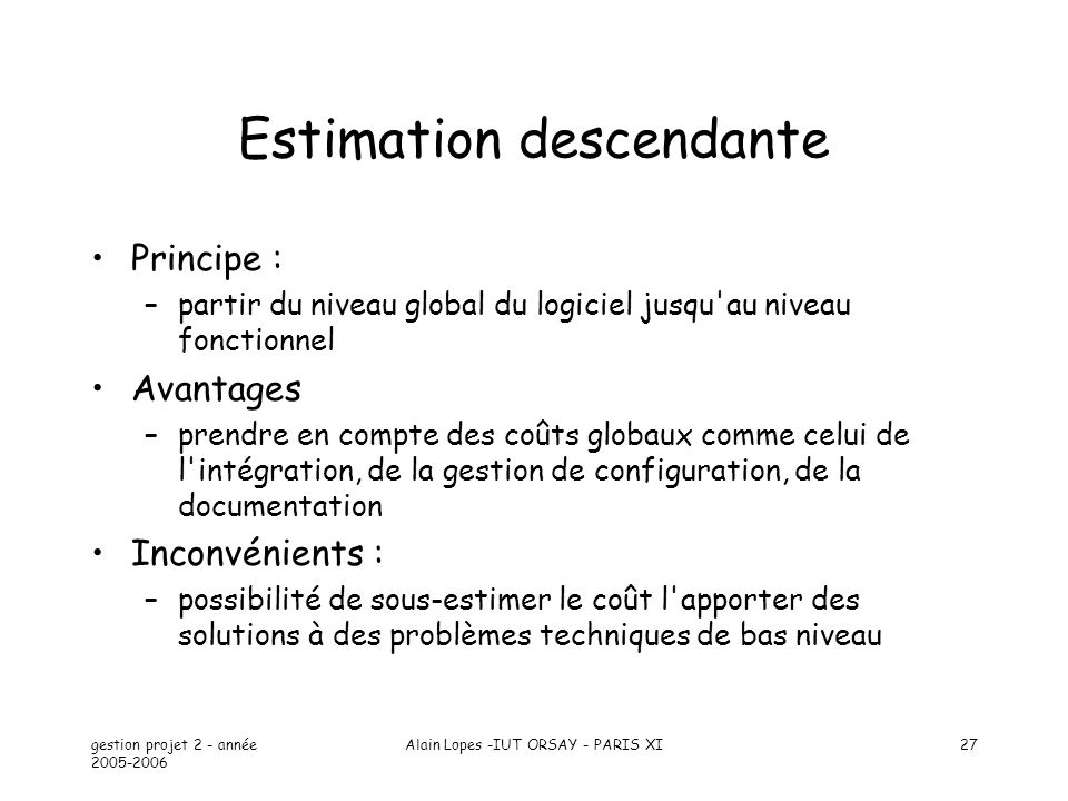 Estimation descendante