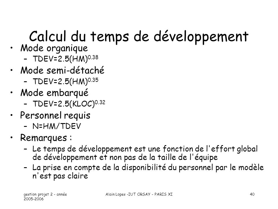 Calcul du temps de développement