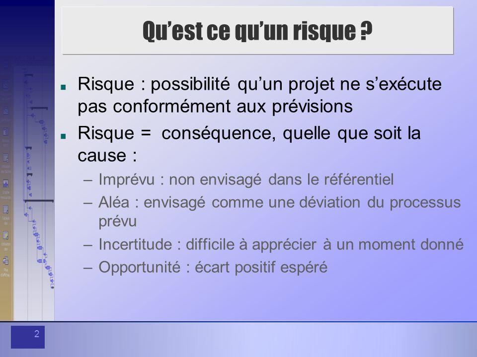 Qu'est ce qu'un risque Risque : possibilité qu'un projet ne s'exécute pas conformément aux prévisions.