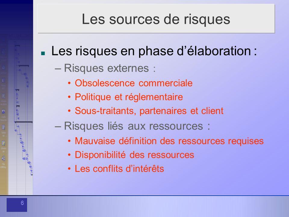 Les sources de risques Les risques en phase d'élaboration :