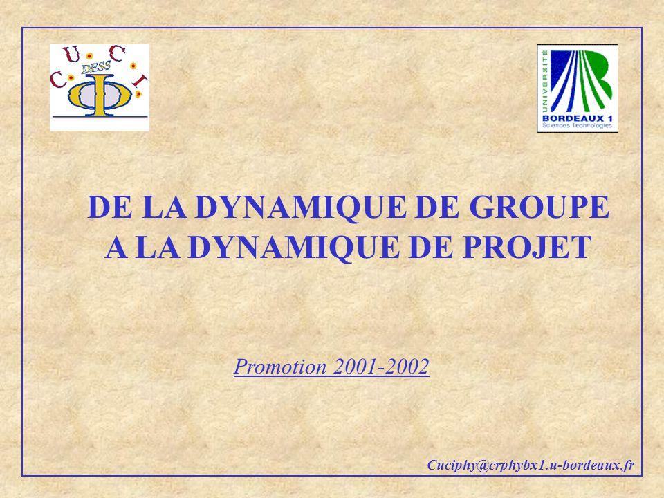DE LA DYNAMIQUE DE GROUPE A LA DYNAMIQUE DE PROJET