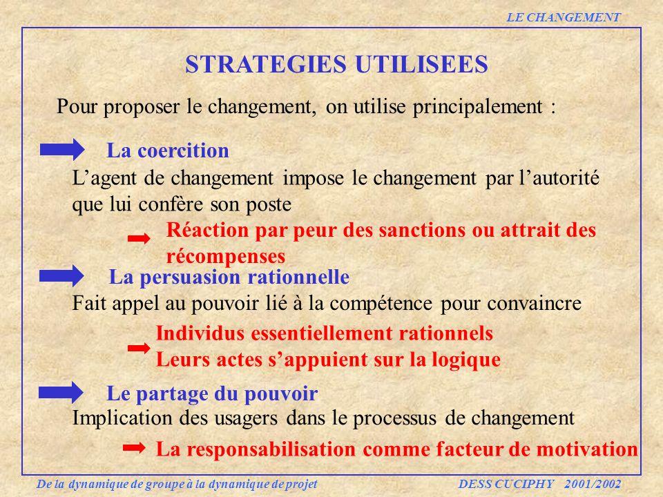 LE CHANGEMENT STRATEGIES UTILISEES. Pour proposer le changement, on utilise principalement : La coercition.