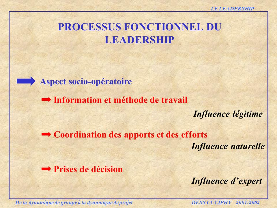 PROCESSUS FONCTIONNEL DU LEADERSHIP