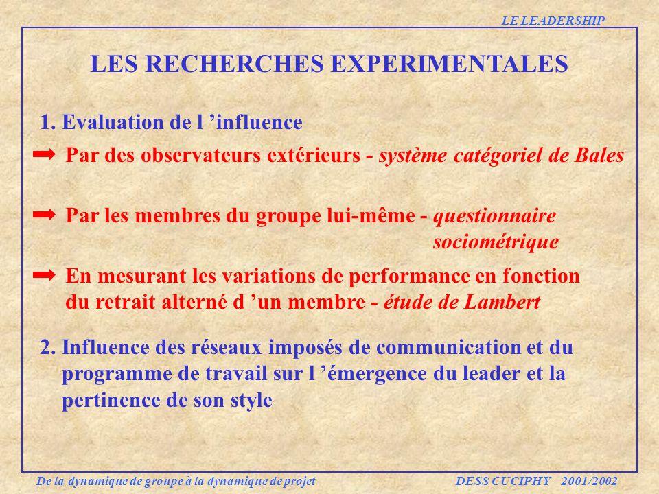 LES RECHERCHES EXPERIMENTALES