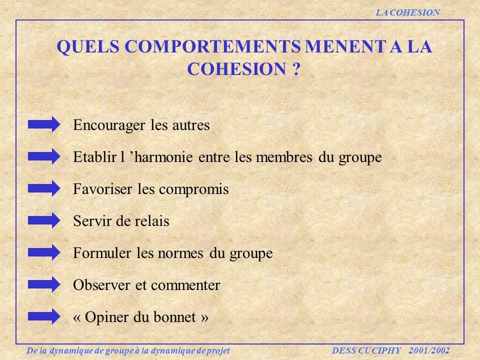 QUELS COMPORTEMENTS MENENT A LA COHESION