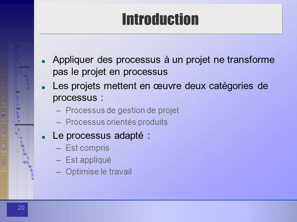 Introduction Appliquer des processus à un projet ne transforme pas le projet en processus.