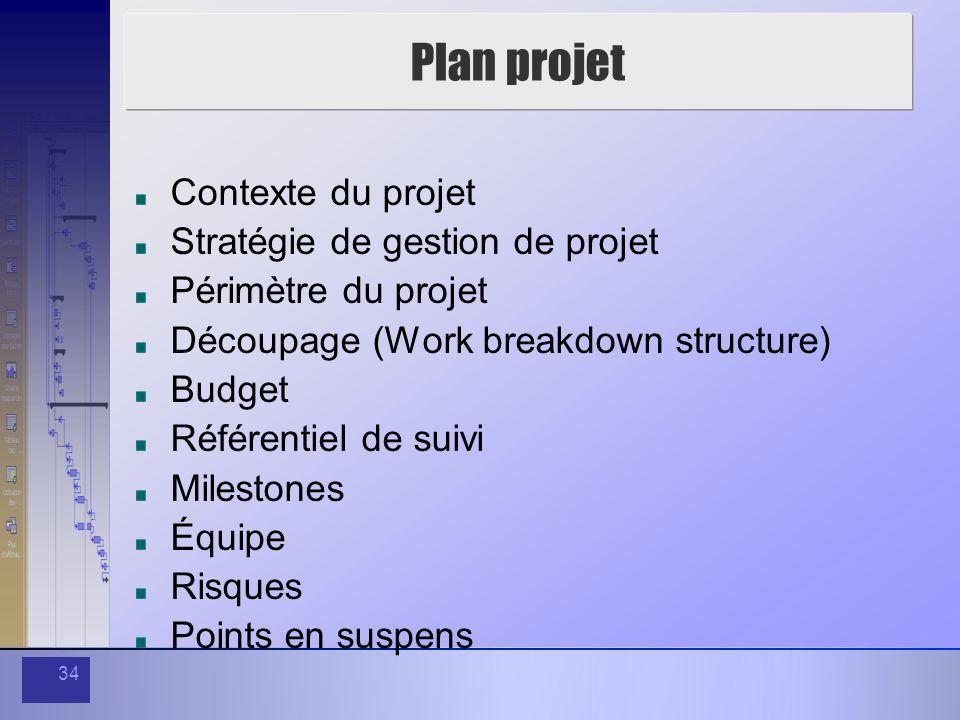 Plan projet Contexte du projet Stratégie de gestion de projet