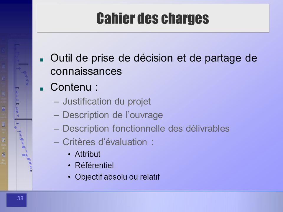 Cahier des charges Outil de prise de décision et de partage de connaissances. Contenu : Justification du projet.