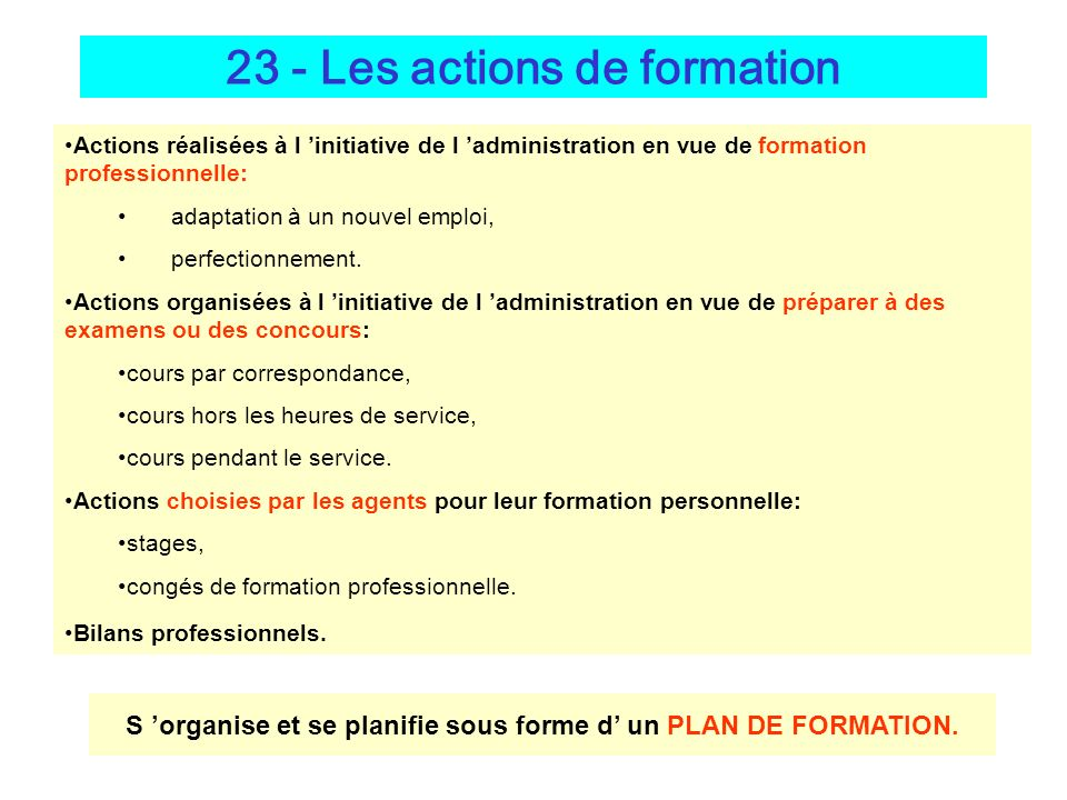 23 - Les actions de formation