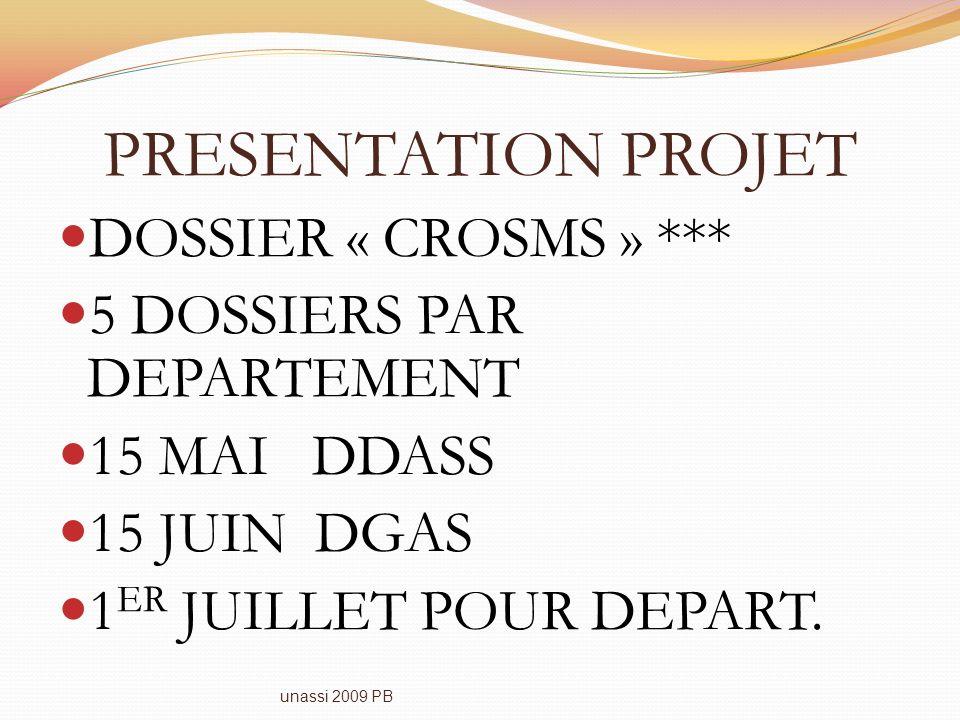 PRESENTATION PROJET DOSSIER « CROSMS » *** 5 DOSSIERS PAR DEPARTEMENT