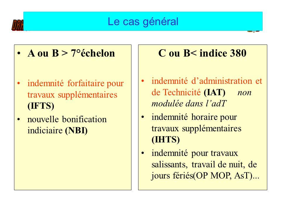 Le cas général A ou B > 7°échelon C ou B< indice 380