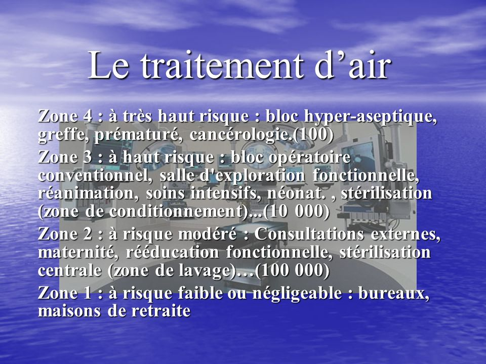 Le traitement d'air Zone 4 : à très haut risque : bloc hyper-aseptique, greffe, prématuré, cancérologie.(100)