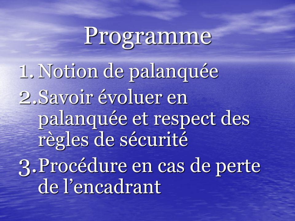 Programme Notion de palanquée