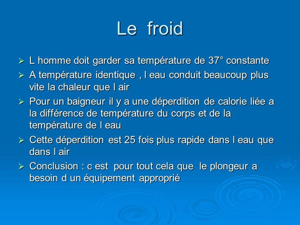 Le froid L homme doit garder sa température de 37° constante