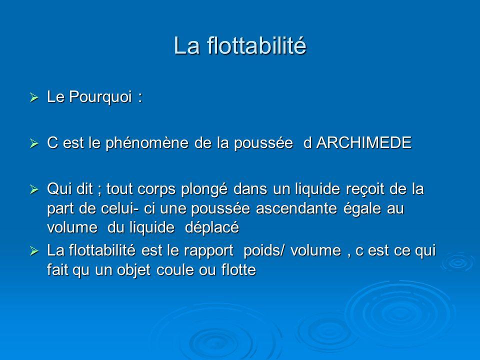 La flottabilité Le Pourquoi :