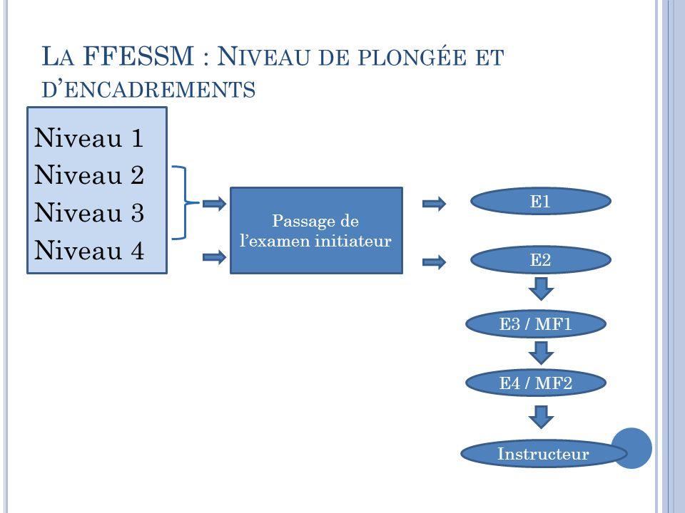 La FFESSM : Niveau de plongée et d'encadrements