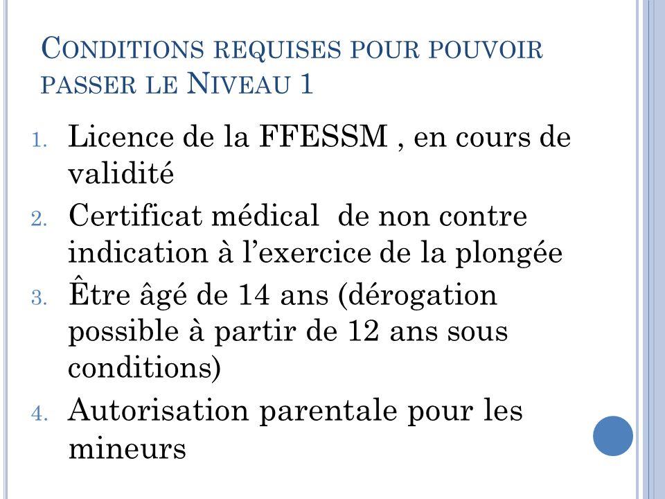 Conditions requises pour pouvoir passer le Niveau 1