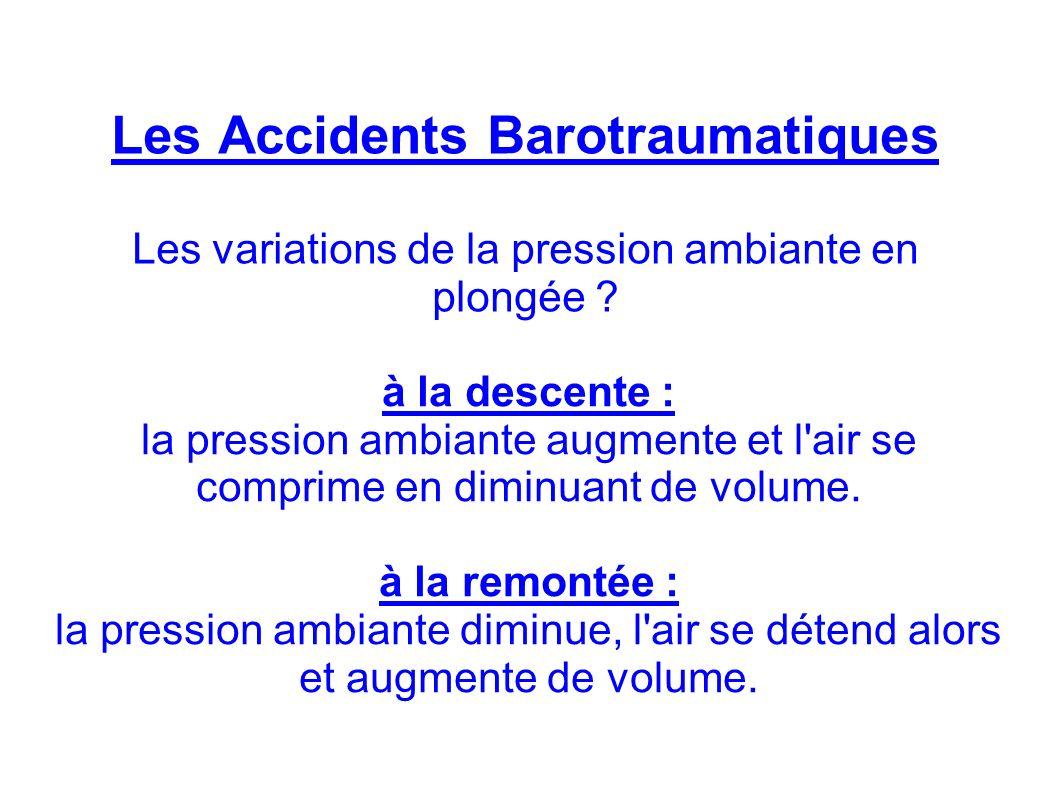 Les Accidents Barotraumatiques Les variations de la pression ambiante en plongée