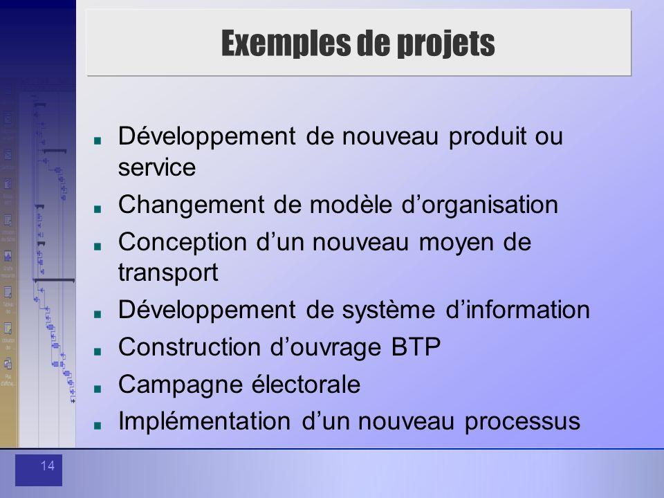 Exemples de projets Développement de nouveau produit ou service