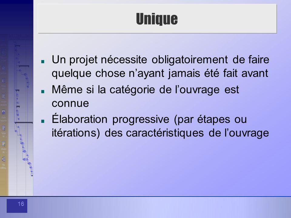 UniqueUn projet nécessite obligatoirement de faire quelque chose n'ayant jamais été fait avant. Même si la catégorie de l'ouvrage est connue.