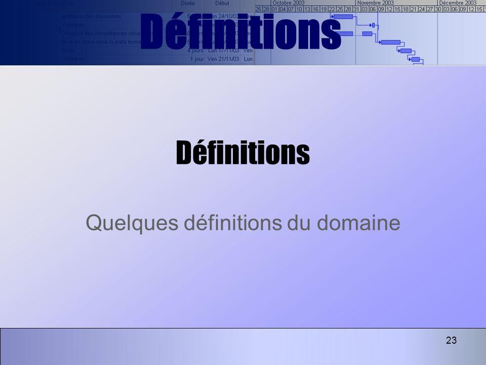 Quelques définitions du domaine
