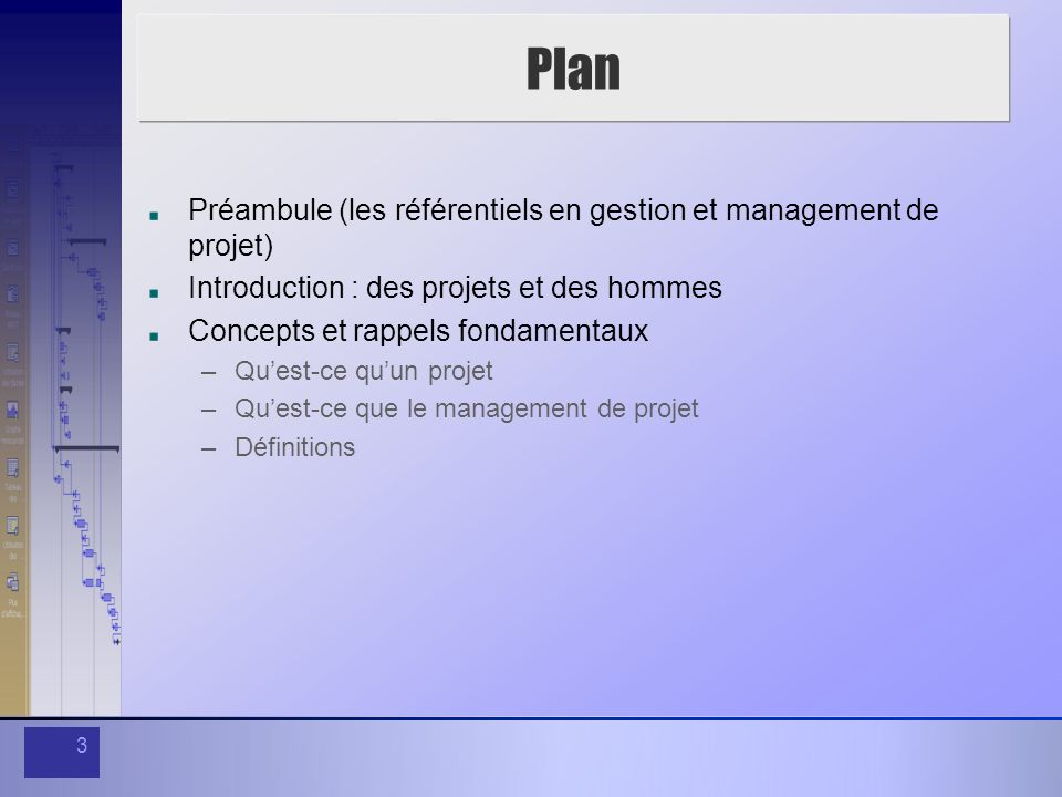 Plan Préambule (les référentiels en gestion et management de projet)