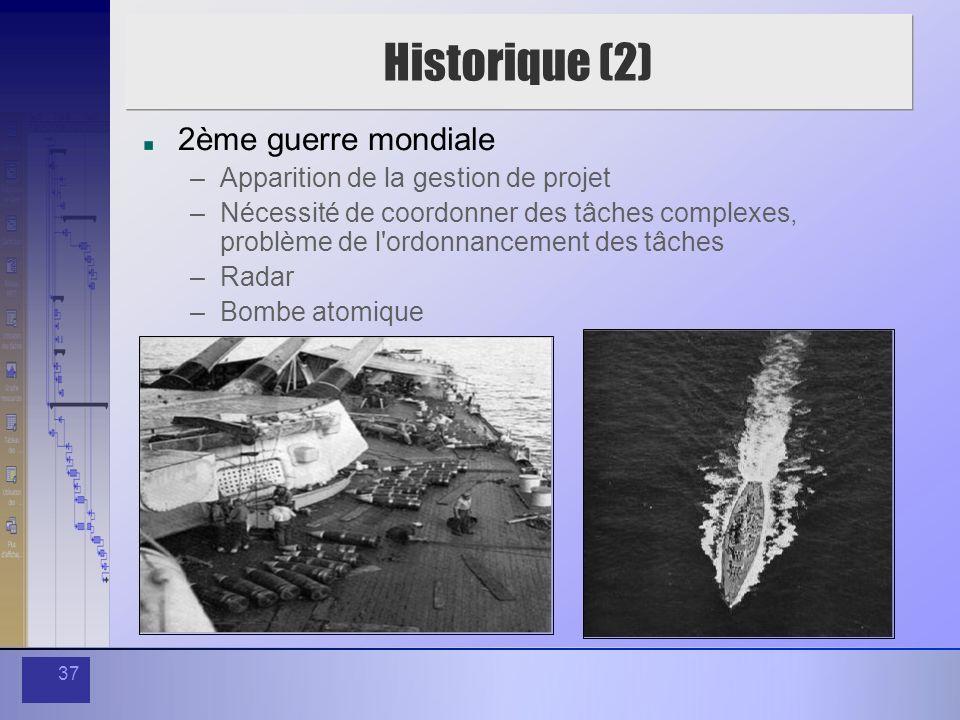 Historique (2) 2ème guerre mondiale Apparition de la gestion de projet