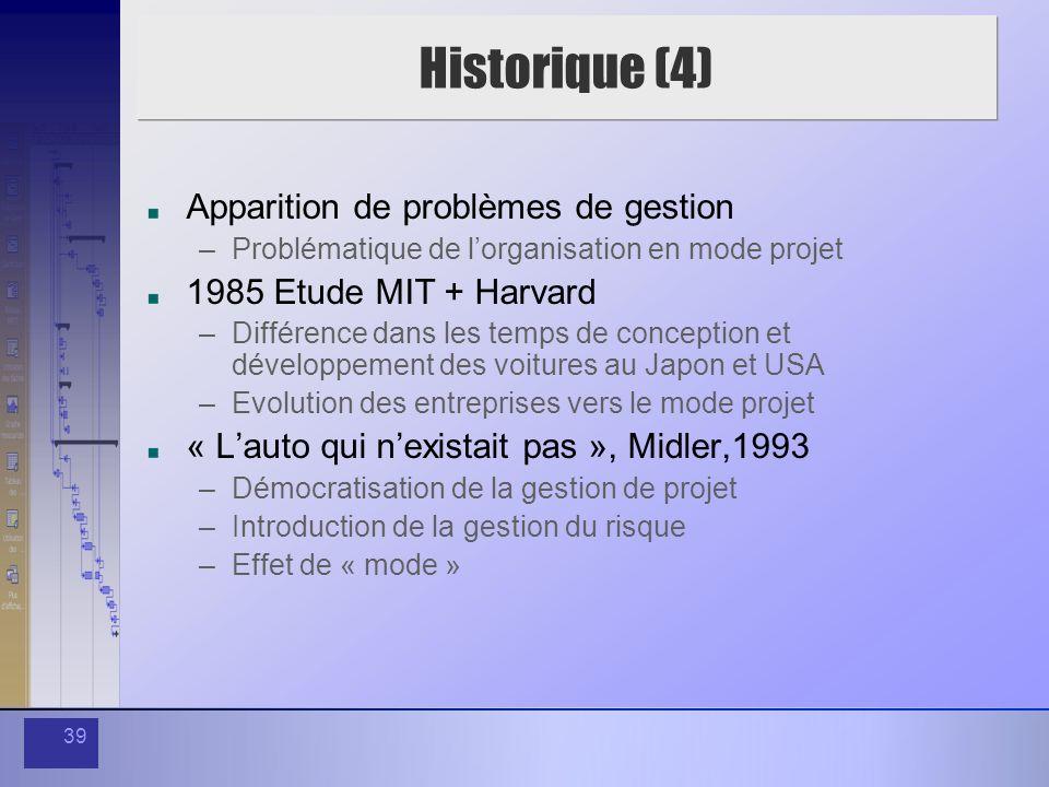 Historique (4) Apparition de problèmes de gestion