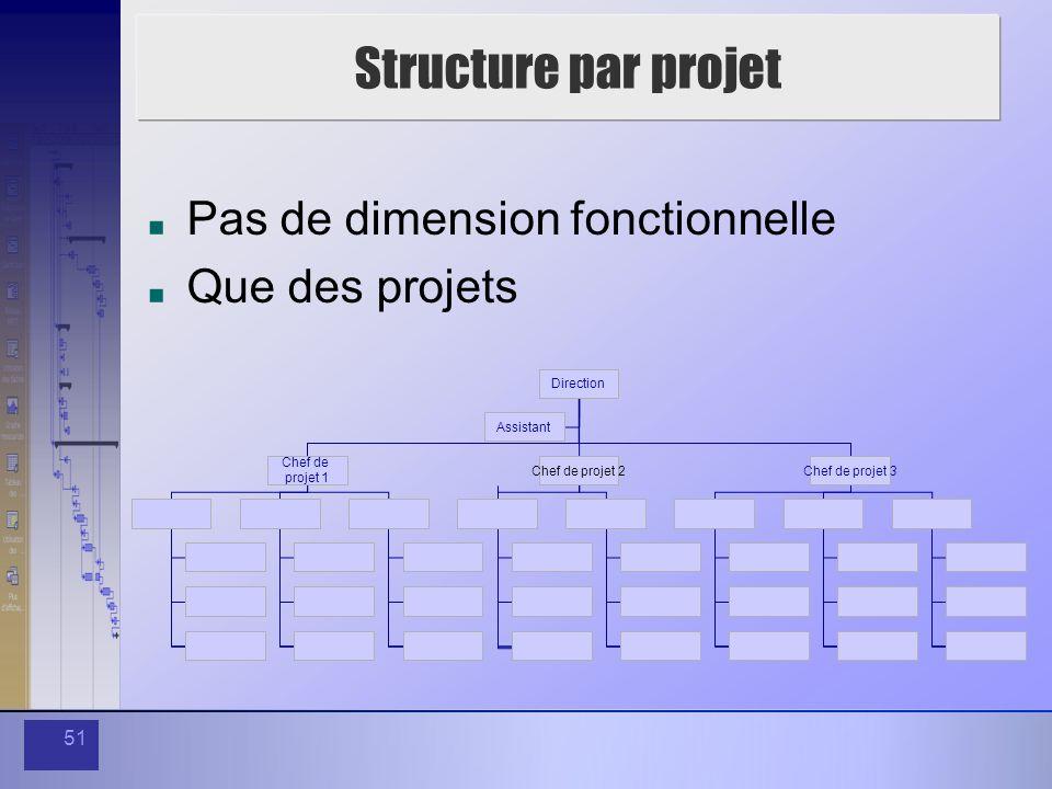 Structure par projet Pas de dimension fonctionnelle Que des projets