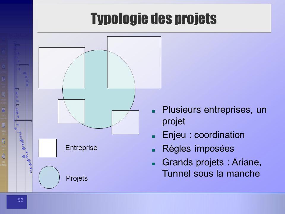 Typologie des projets Plusieurs entreprises, un projet
