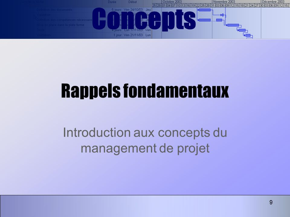 Introduction aux concepts du management de projet