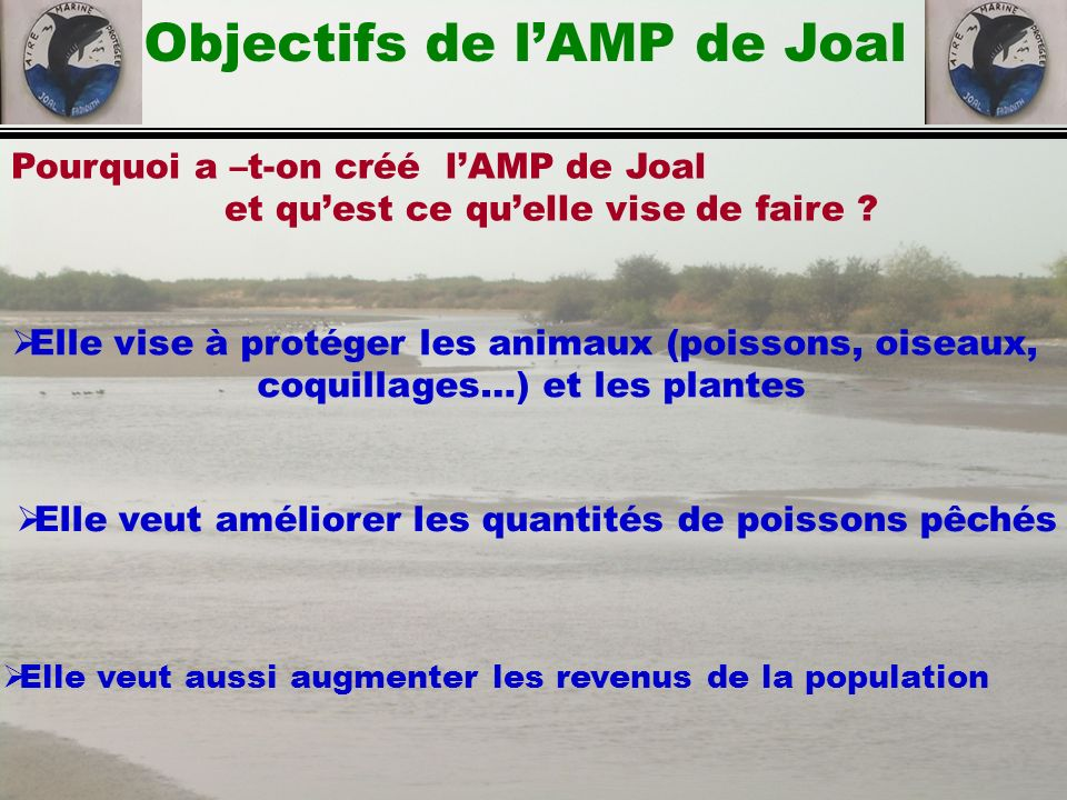 Objectifs de l'AMP de Joal