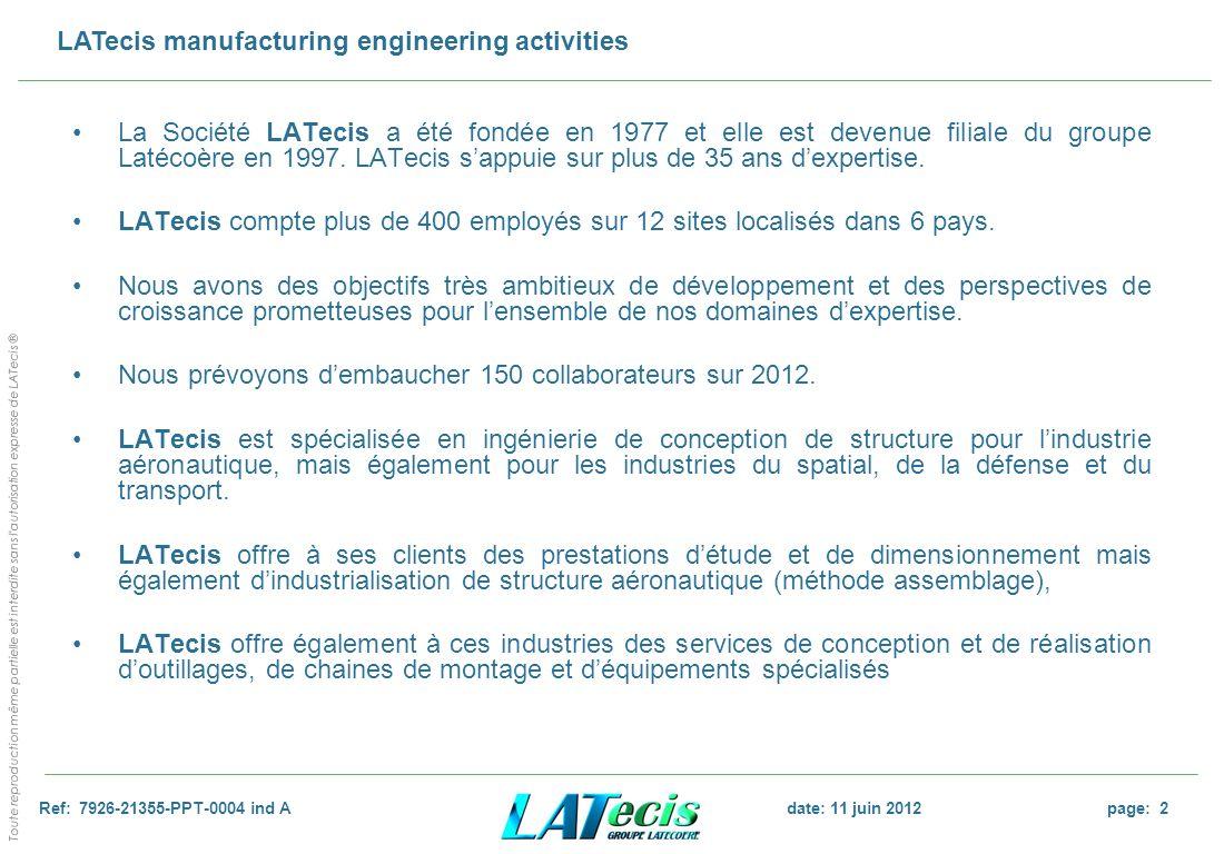 La Société LATecis a été fondée en 1977 et elle est devenue filiale du groupe Latécoère en 1997. LATecis s'appuie sur plus de 35 ans d'expertise.