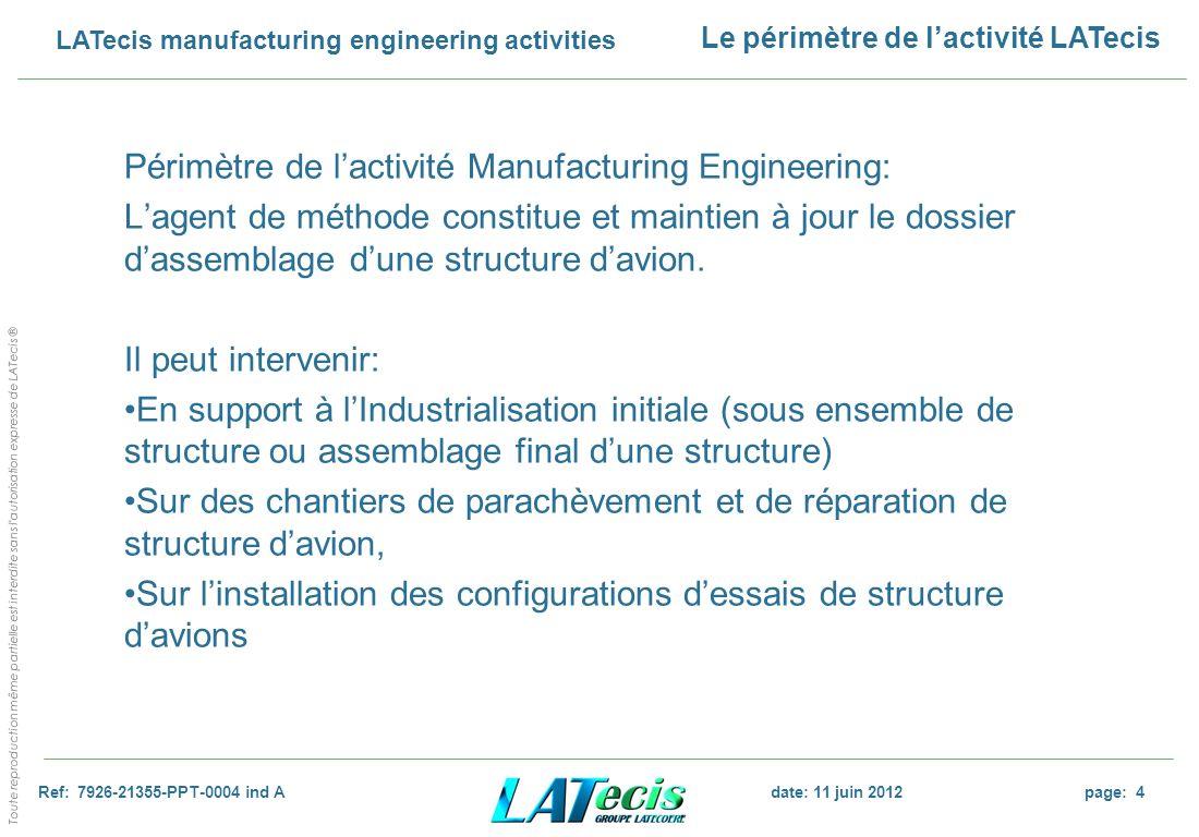 Périmètre de l'activité Manufacturing Engineering: